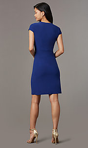 Image of short navy blue empire-waist party dress. Style: ECI-720478-7749A Detail Image 3