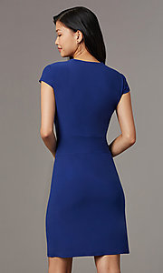 Image of short navy blue empire-waist party dress. Style: ECI-720478-7749A Back Image