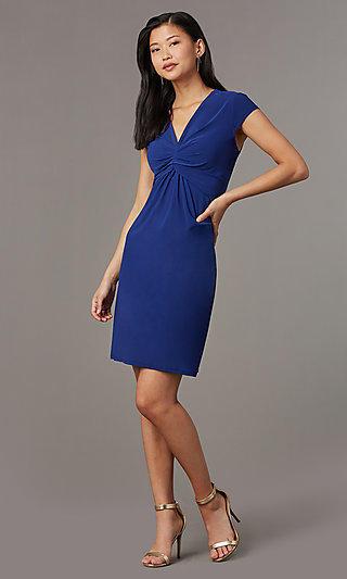 Short Navy Blue Empire-Waist Party Dress