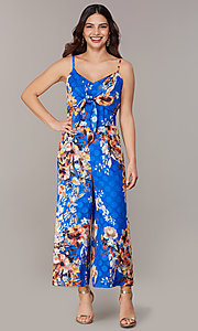 Image of floral-print blue wedding-guest jumpsuit. Style: ECI-720469-75851 Front Image