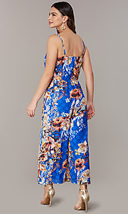 Image of floral-print blue wedding-guest jumpsuit. Style: ECI-720469-75851 Back Image