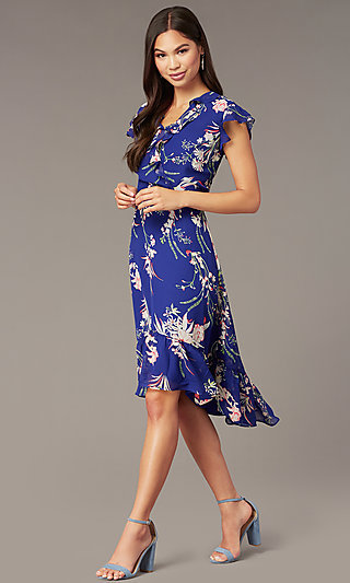 High-Low Floral Print Casual Party Dress