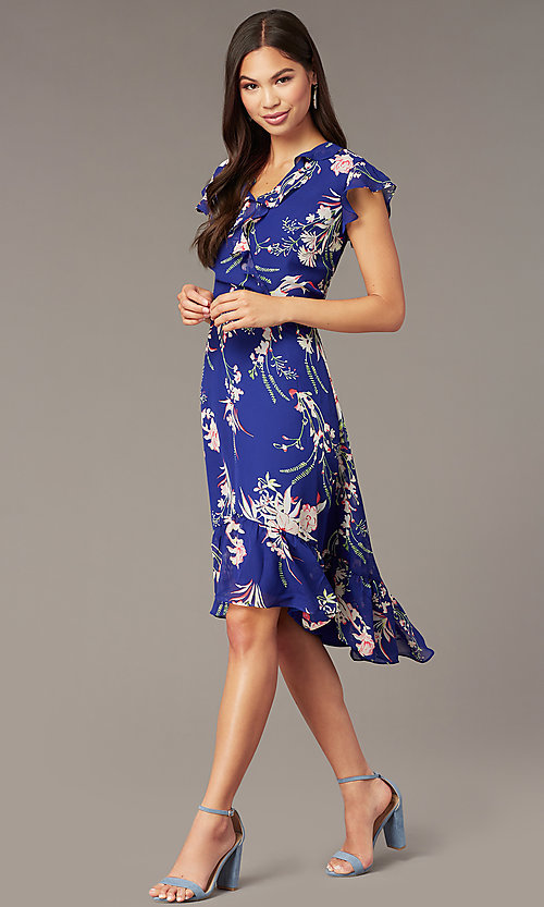 Image of high-low pink floral-print casual blue party dress. Style: ECI-720471-75979 Front Image