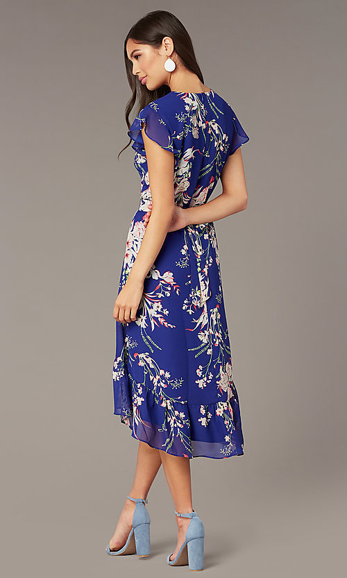 Image of high-low pink floral-print casual blue party dress. Style: ECI-720471-75979 Back Image