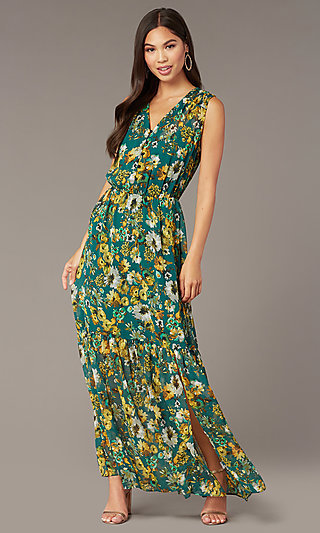 Floral-Print Maxi Wedding-Guest Dress with Buttons