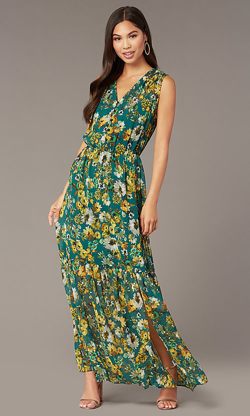 Image of floral-print maxi wedding-guest dress with buttons. Style: ECI-719590-76037A Front Image