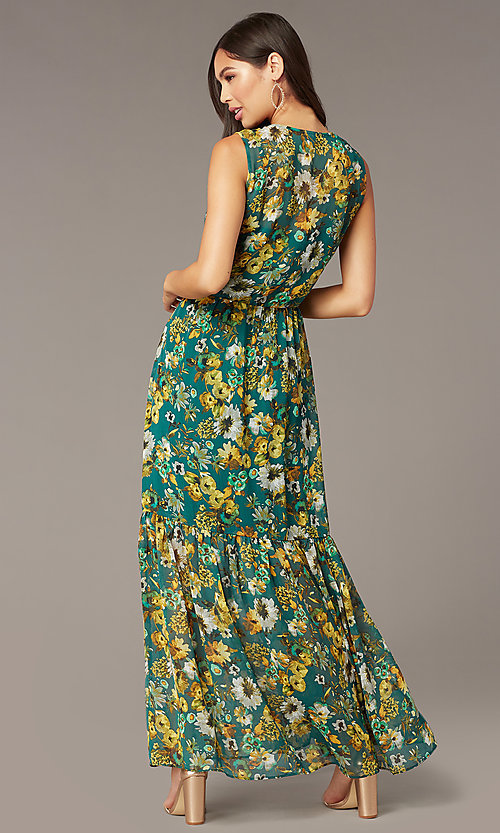 Image of floral-print maxi wedding-guest dress with buttons. Style: ECI-719590-76037A Back Image