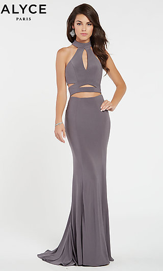 Long Jersey Mock-Neck Prom Dress with Cut-Outs 88b2f8ea5
