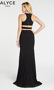 Image of two-piece long black formal prom dress by Alyce. Style: AL-60284 Back Image