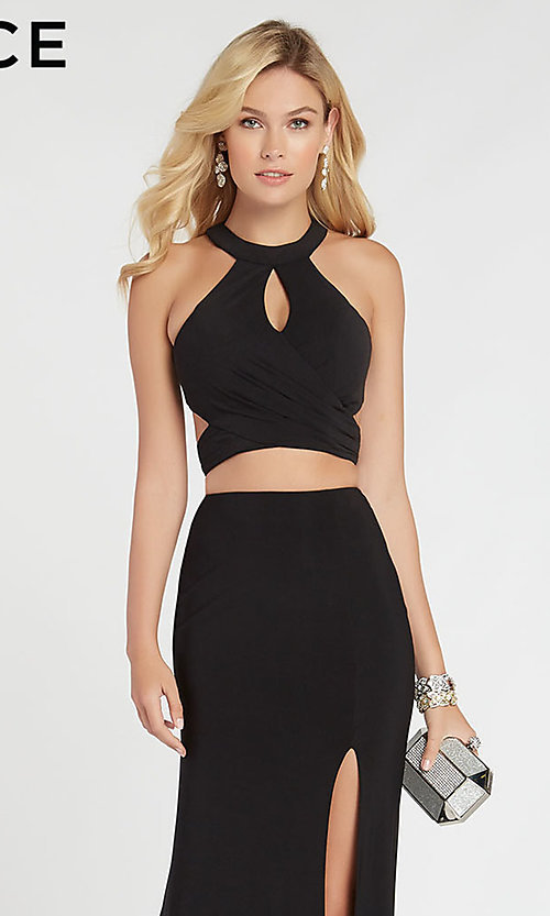 Image of two-piece long black formal prom dress by Alyce. Style: AL-60284 Detail Image 1