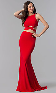 Image of back-tie long two-piece Alyce formal prom dress. Style: AL-60003-v Detail Image 1