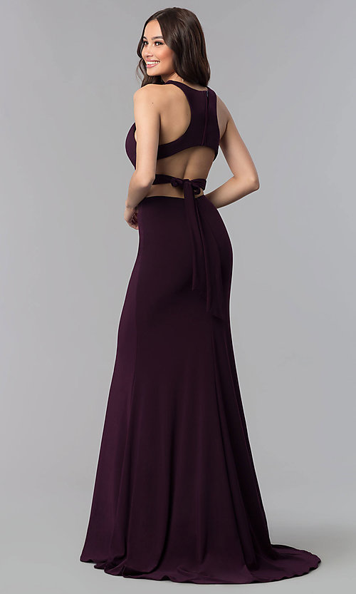 Image of back-tie long two-piece Alyce formal prom dress. Style: AL-60003-v Back Image