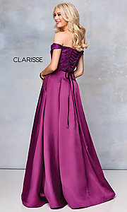 Image of off-shoulder long prom ball gown by Clarisse. Style: CLA-3762 Back Image