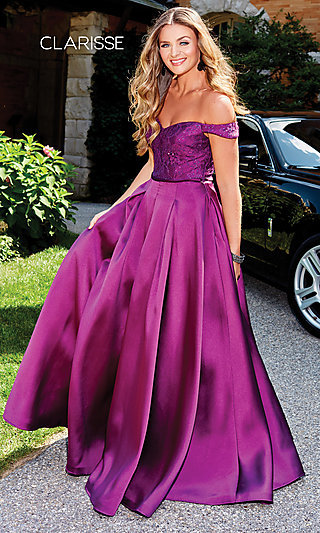 Off-Shoulder Long Prom Ball Gown by Clarisse