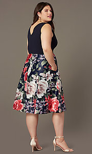 Image of plus-size short v-neck print-skirt party dress. Style: MCR-2623 Back Image