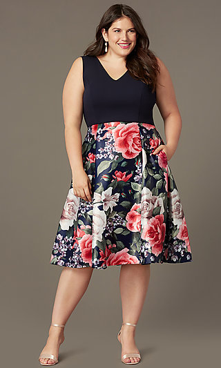Plus-Size Short V-Neck Print-Skirt Party Dress
