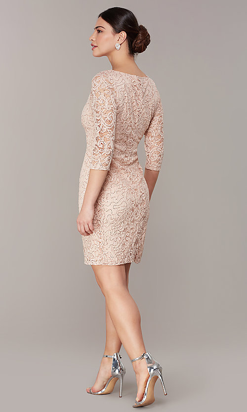 Image of short sequin-lace 3/4-sleeve party dress in blush. Style: JU-TI-t2038 Back Image