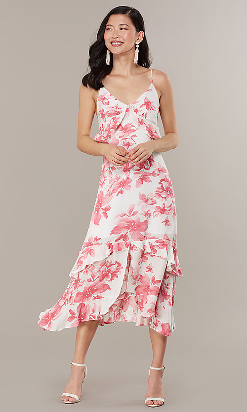 Floral Print V Neck Midi Wedding Guest Dress