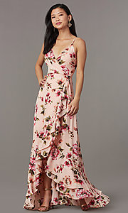 Image of floral-print long wedding-guest dress with ruffles. Style: IF-CD245L Front Image