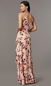 Image of floral-print long wedding-guest dress with ruffles. Style: IF-CD245L Back Image