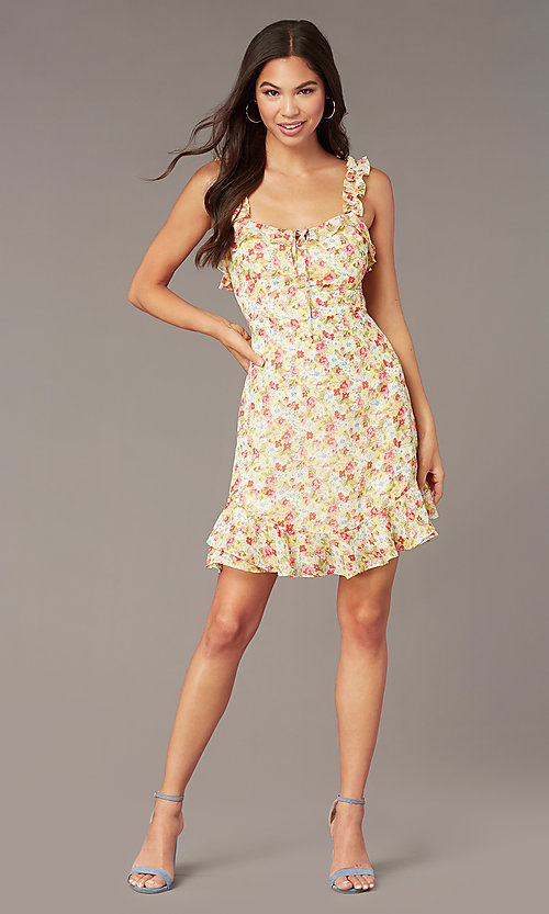 Image of sleeveless short casual party dress with print. Style: IF-CD242L Front Image