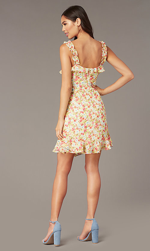 Image of sleeveless short casual party dress with print. Style: IF-CD242L Back Image