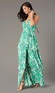 Image of long print v-neck wrap wedding-guest dress. Style: IF-BD1457 Front Image