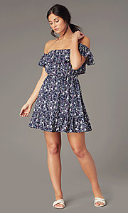Image of short off-shoulder floral-print casual party dresses. Style: IF-CD270L Front Image