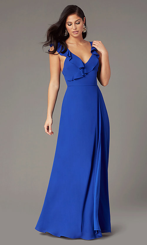 Image of long cobalt blue chiffon wedding-guest dress. Style: IF-CD352L Front Image