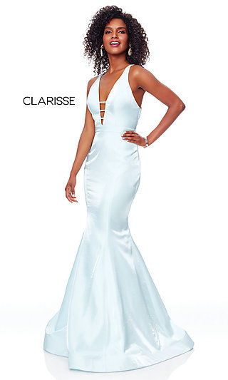Strappy-Open-Back Long Prom Dress by Clarisse