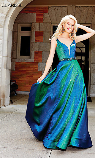 Iridescent Green Long V-Neck Prom Dress by Clarisse