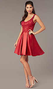 Image of short a-line scoop-neck hoco party dress. Style: AL-3822 Detail Image 3