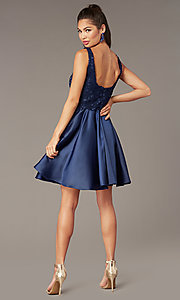 Image of short a-line scoop-neck hoco party dress. Style: AL-3822 Back Image