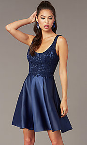 Image of short a-line scoop-neck hoco party dress. Style: AL-3822 Front Image