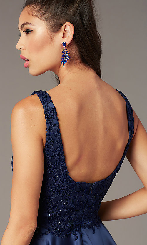Image of short a-line scoop-neck hoco party dress. Style: AL-3822 Detail Image 1