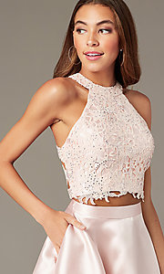 Image of two-piece Alyce short homecoming dress with lace. Style: AL-3823 Detail Image 4