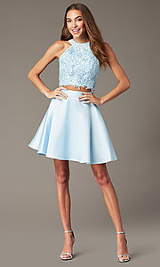 Image of two-piece Alyce short homecoming dress with lace. Style: AL-3823 Detail Image 5