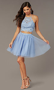 Image of Alyce two-piece lace-bodice short homecoming dress. Style: AL-3824 Front Image