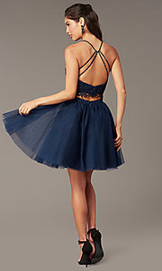 Image of Alyce two-piece lace-bodice short homecoming dress. Style: AL-3824 Detail Image 8