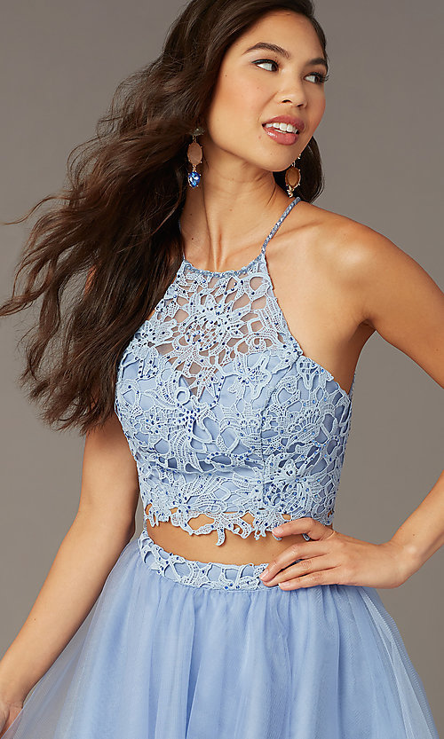 Image of Alyce two-piece lace-bodice short homecoming dress. Style: AL-3824 Detail Image 1