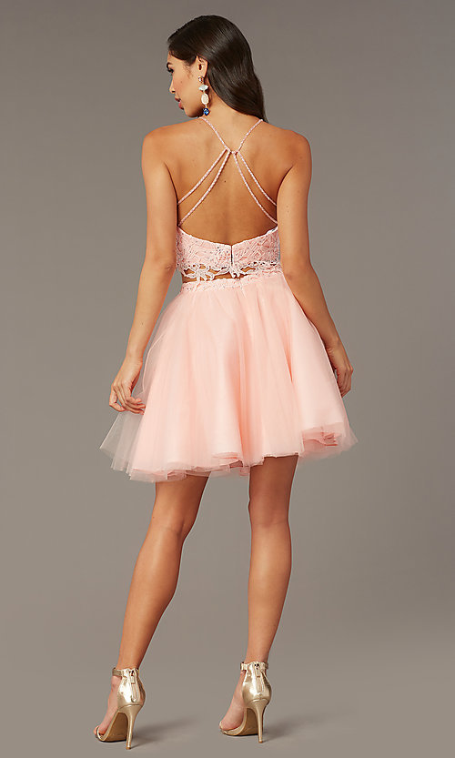 Image of Alyce two-piece lace-bodice short homecoming dress. Style: AL-3824 Detail Image 3