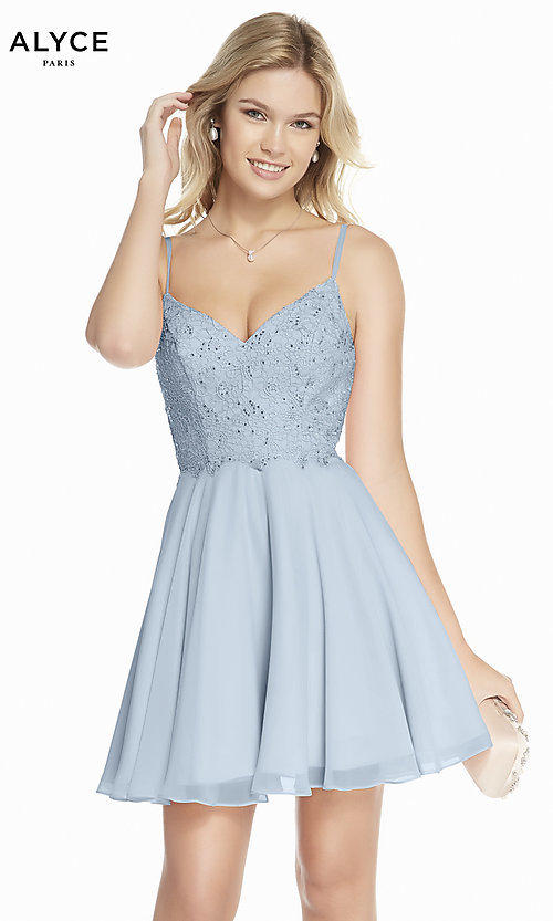Image of short v-neck a-line Alyce homecoming dress. Style: AL-3831 Front Image