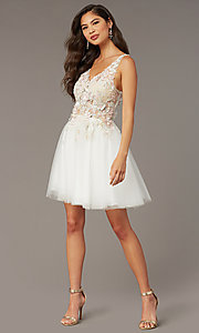 Image of embroidered-bodice short homecoming dress by Alyce. Style: AL-3863 Front Image