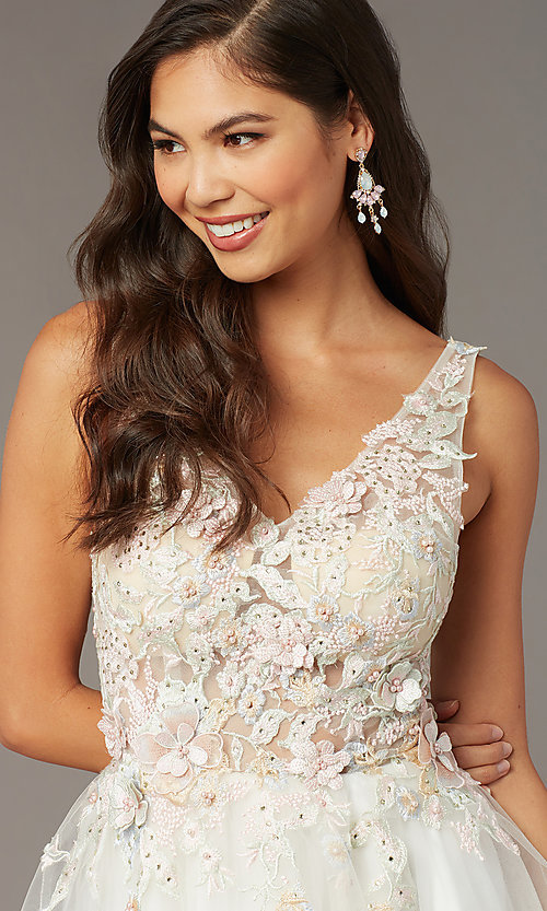 Image of embroidered-bodice short homecoming dress by Alyce. Style: AL-3863 Detail Image 1