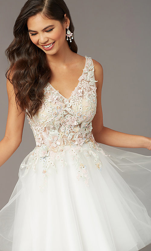 Image of embroidered-bodice short homecoming dress by Alyce. Style: AL-3863 Detail Image 2