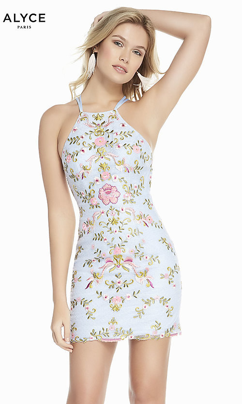 Image of short formal homecoming dress with embroidery. Style: AL-3859 Detail Image 2