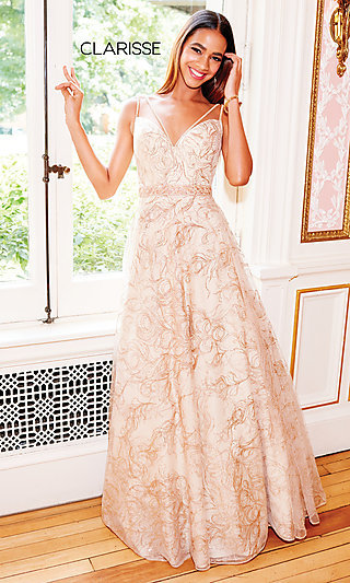Long Glitter Embellished Prom Dress by Clarisse
