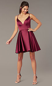Image of short a-line v-neck hoco open-back dress by Alyce. Style: AL-3876 Front Image