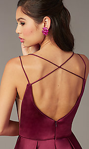 Image of short a-line v-neck hoco open-back dress by Alyce. Style: AL-3876 Detail Image 2