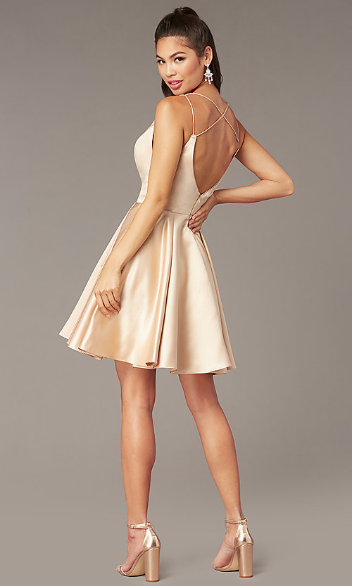 Image of short a-line v-neck hoco open-back dress by Alyce. Style: AL-3876 Detail Image 4